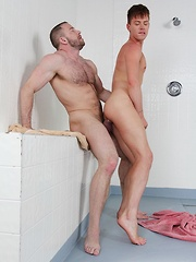 Young and hung Kyler Ash soaps up muscle daddy Shay Michaels - Gay porn pics at GayStick.com
