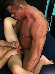 Muscle daddy Tyler Saint and smooth lad Dustin Fitch are making out on the bed - Gay porn pics at GayStick.com