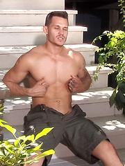 Tate Ryder shows his boner on a porch - Gay porn pics at GayStick.com