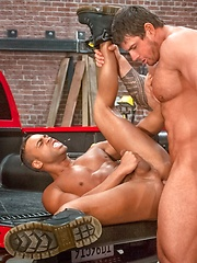 Black dude gets a big white cock - Gay porn pics at GayStick.com