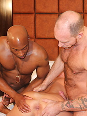 Champ Robinson, in a group bareback scene with Randy Harden and Austin Dallas - Gay porn pics at GayStick.com