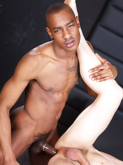Tyson the wiry black from England is an eye candy. His partner Kilian gets excited about Tysons - Gay porn pics at GayStick.com