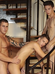 Muscular, Tattooed Hunk Gives Two Dirty Bitches A Hard Taste Of Bad-Boy Sex! - Gay porn pics at GayStick.com