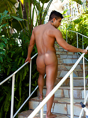 Justin Owen catches tall dark and handsome Diego Sans in the pool - Gay porn pics at GayStick.com