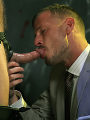 Dirk invites the suited stranger to fuck Logan's ass - Gay porn pics at GayStick.com