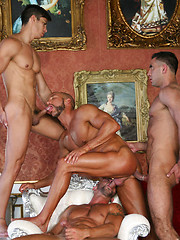 Three guys bangs one hungry gay hole - Gay porn pics at GayStick.com