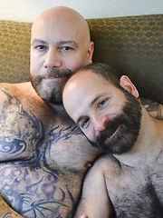 Daddy Lucas And Machael Johnson, A Furry Tattooed Bear & Cub At Play - Gay porn pics at GayStick.com