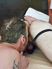 Spit Roasting Bareback Tag Team Fucking 3-Way - Gay porn pics at GayStick.com