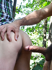Austin took control by pushing Arnaud up against a tree, making out with him, and literally ripping his shirt off before going down on him - Gay porn pics at GayStick.com