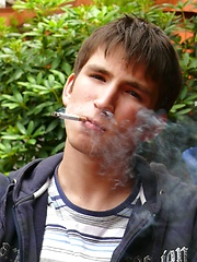 Smoking boy Aidan in the bar - Gay porn pics at GayStick.com