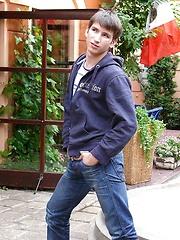 Smoking boy Aidan in the bar - Gay porn pics at GayStick.com