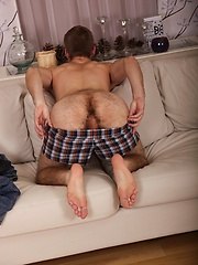 Sexy Aiden Reyes spreading his very hairy ass cheeks. - Gay porn pics at GayStick.com