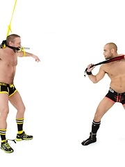 Bound Jocks - Leo Forte Flogs Dirk Caber - Gay porn pics at GayStick.com
