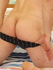 Uncut hung stud Alex Saikov busts a nut on his stomach. - Gay porn pics at GayStick.com