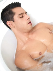 After a long day of work Bobby has returned back home to relax in a warm bubble bath - Gay porn pics at GayStick.com