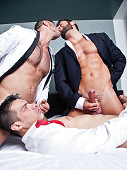 Sex After a Business Lunch Starring Adam Killian, Fernando Torres, and Valentino Medici - Gay porn pics at GayStick.com