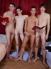 Nocturnal Emissions All Round As Four Horny Schoolboys Suck & Fuck All Night Long! - Gay porn pics at GayStick.com