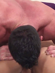 Ripped hunk Billy Santoro tops latin bottom Mark Rivera in this steamy clip. The scene dives ...