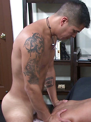 Mark Rivera returns with a sore ass, and endures a pounding by Gio Ryder.  Gio makes sure he ... - Gay porn pics at GayStick.com