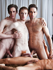 Michael Lucas, Seth Roberts, Dirk Wakefield, and Seamus OReilly Have Bareback Sex - Gay porn pics at GayStick.com