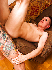 Twink Cherry Popped By Super Hung, Tattooed Muscle Brute - Gay porn pics at GayStick.com