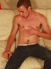 Gorgeous Richard Wolfe masturbates on the sofa. - Gay porn pics at GayStick.com