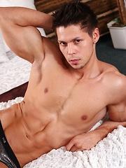 Hunk Angelo Godshack fondles his beautiful balls. - Gay porn pics at Gaystick